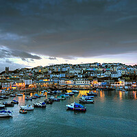 Buy canvas prints of Brixham Harbour at dusk by kevin wise