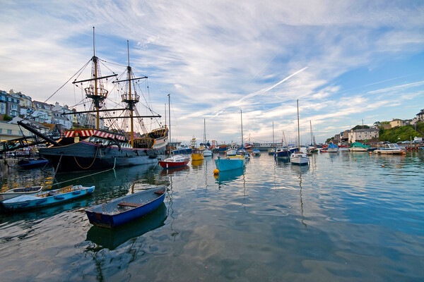 Brixham Harbour Boats Canvas Print by kevin wise
