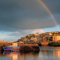 Buy canvas prints of Brixham Rainbow by kevin wise