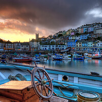 Buy canvas prints of Sunset over Brixham by kevin wise
