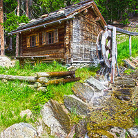 Buy canvas prints of Mountain forest house by Charlie Brown