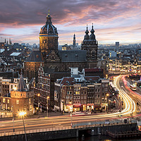 Buy canvas prints of Amsterdam sunset by Charlie Brown