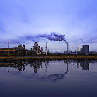 Buy canvas prints of Reflection of refineries and its chimney  by Charlie Brown