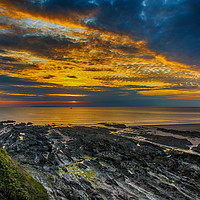 Buy canvas prints of Sunset Over Croyde Bay, Devon by shawn nicholas