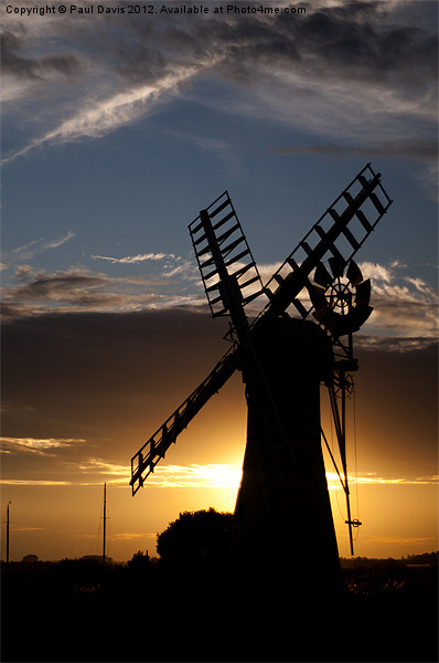 Thurne Mill Silhouette Framed Mounted Print by Paul Davis
