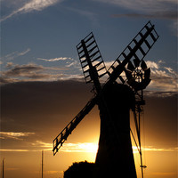 Buy canvas prints of Thurne Mill Silhouette by Paul Davis