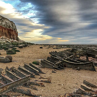 Buy canvas prints of Boat Skeleton Old Hunstanton Beach by Jacqui Farrell