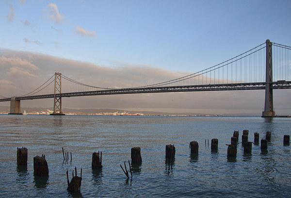 Bay Bridge - San francisco  Canvas print by Val Saxby LRPS