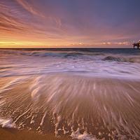 Buy canvas prints of Colourful Pier Sunrise by Jennie Franklin Landscape Prints & Canvas