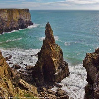 Buy canvas prints of Pinnacle Stack, Mowingword, Pembrokeshire Coast by Paula J James
