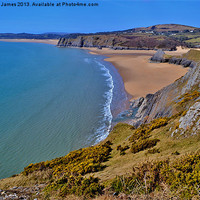 Buy canvas prints of Three Cliffs Bay by Paula J James