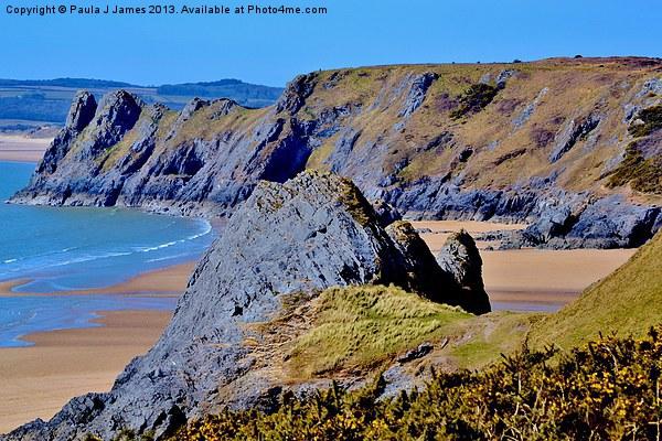 The Three Cliffs Canvas Print by Paula J James