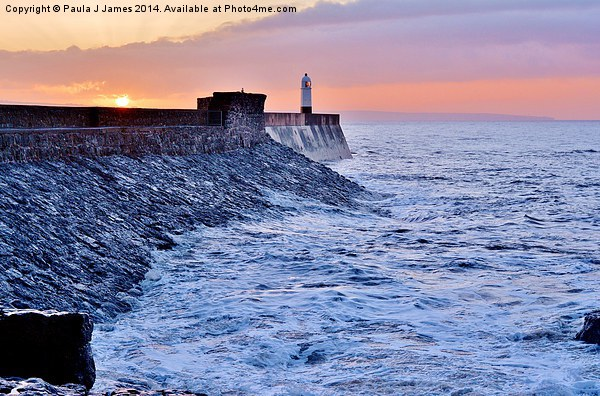 Sunrise in Porthcawl Canvas Print by Paula J James