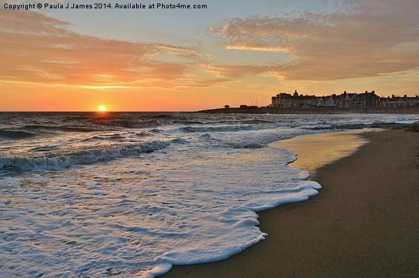 Porthcawl Sunset Canvas Print by Paula J James