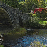 Buy canvas prints of Tu Hunt T'R Bont a famous cottage tea room in Wal by JEAN FITZHUGH