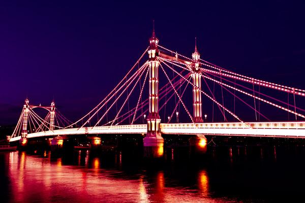 Albert Bridge London night view Framed Mounted Print by David Pyatt