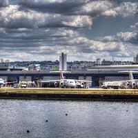 Buy canvas prints of    London City Airport view by David Pyatt