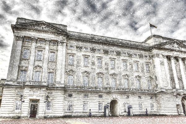 Buckingham Palace London Snow Framed Mounted Print by David Pyatt
