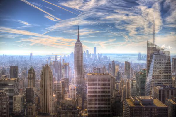 New York Manhattan Skyline Framed Mounted Print by David Pyatt