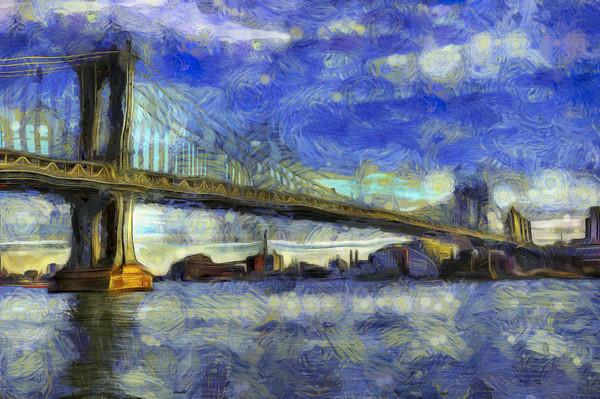 Manhattan Bridge New York Art Framed Mounted Print by David Pyatt
