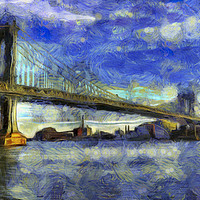 Buy canvas prints of Manhattan Bridge New York Art by David Pyatt