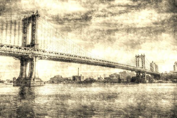 Manhattan Bridge Vintage Framed Mounted Print by David Pyatt