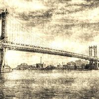 Buy canvas prints of Manhattan Bridge Vintage by David Pyatt