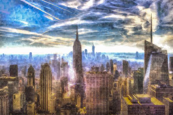 Manhattan Skyline Art Framed Mounted Print by David Pyatt