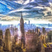 Buy canvas prints of Manhattan Skyline Art by David Pyatt