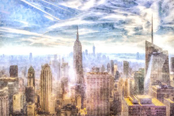 New York Skyline Art Framed Mounted Print by David Pyatt