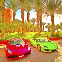Buy canvas prints of Dubai Super Cars Pop Art by David Pyatt
