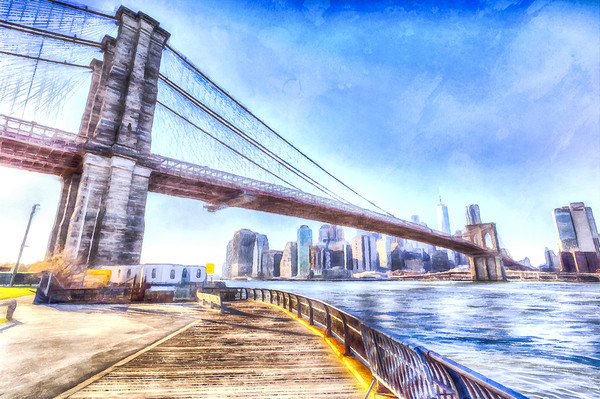 Brooklyn Bridge Art Framed Mounted Print by David Pyatt
