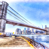 Buy canvas prints of Brooklyn Bridge New York Art by David Pyatt