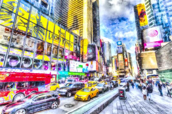 Times Square New York Art Framed Mounted Print by David Pyatt