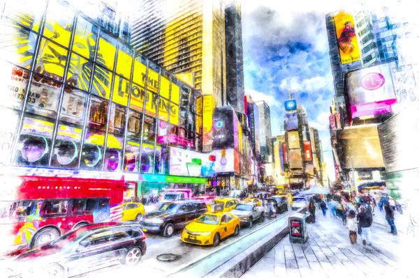 Times Square Art Framed Mounted Print by David Pyatt