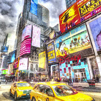 Buy canvas prints of New York taxicabs Art by David Pyatt