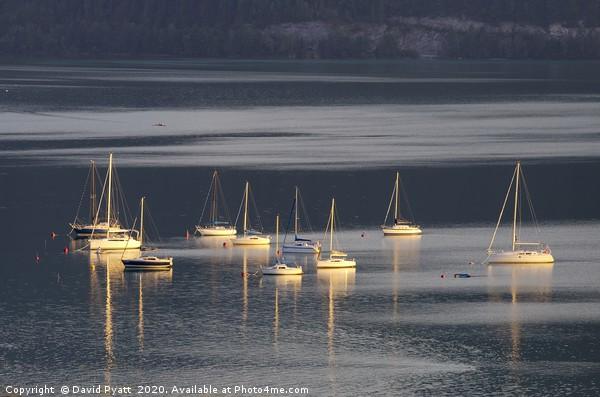 Lake Mondsee Boats  Canvas print by David Pyatt