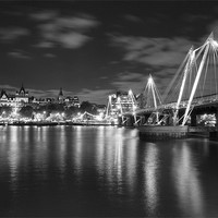 Buy canvas prints of Hungerford Bridge London Black & White by Clive Eariss