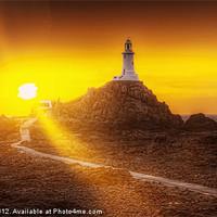Buy canvas prints of Lighthouse and Sunbeams by Robert Pettitt