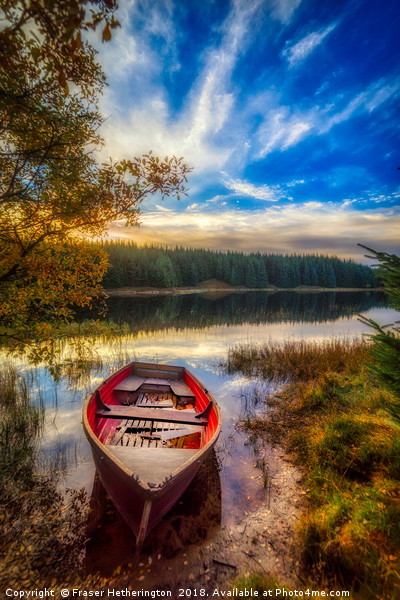 Boat on Loch Scoly  Canvas print by Fraser Hetherington