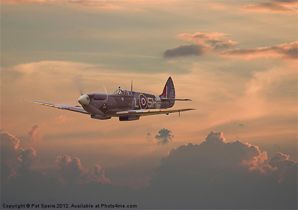 Sunset Spitfire Framed Mounted Print by Pat Speirs