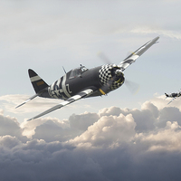 Buy canvas prints of P47G - Thunderbolt  Combat Pair by Pat Speirs