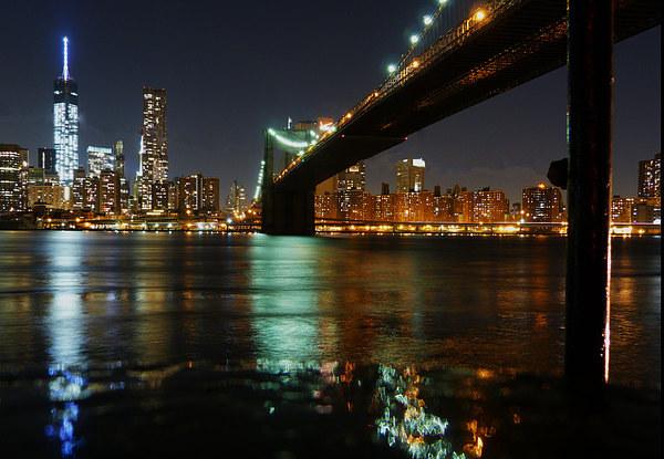 View of Manhattan from Brooklyn Framed Mounted Print by Lynn hanlon