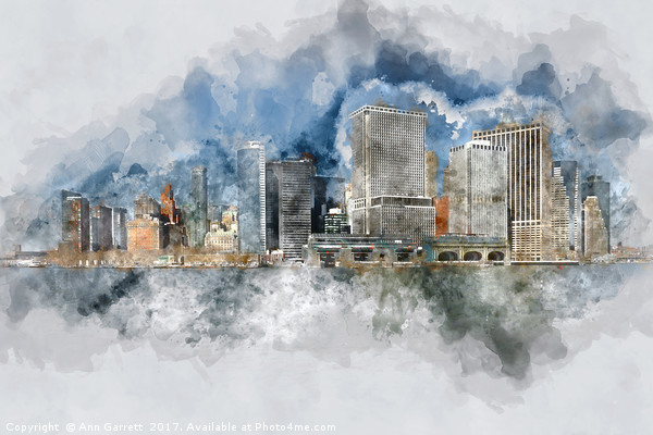 Downtown Manhattan Framed Mounted Print by Ann Garrett