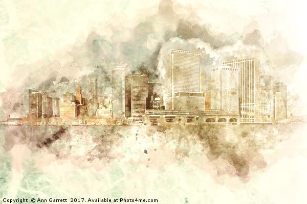 Downtown Manhattan Variation Framed Mounted Print by Ann Garrett