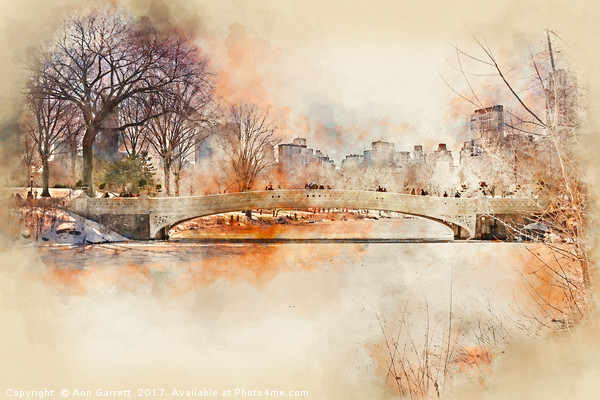 Bow Bridge Central Park New York Framed Mounted Print by Ann Garrett