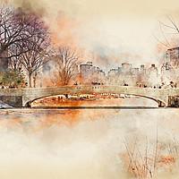 Buy canvas prints of Bow Bridge Central Park New York by Ann Garrett