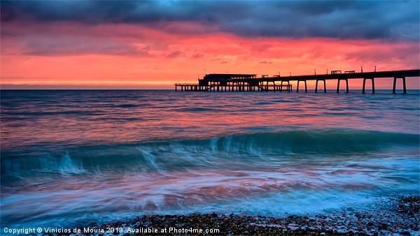 Pier sunrise Canvas print by Vinicios de Moura