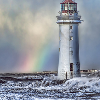 Buy canvas prints of  The Lighthouse and Rainbow by Rick Lindley
