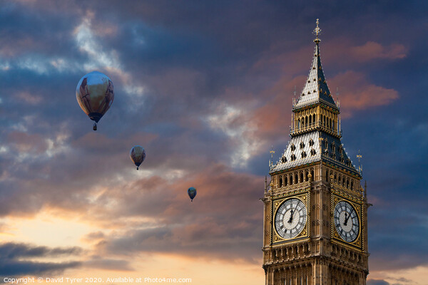 Big Ben and Hot Air Baloons Print by David Tyrer